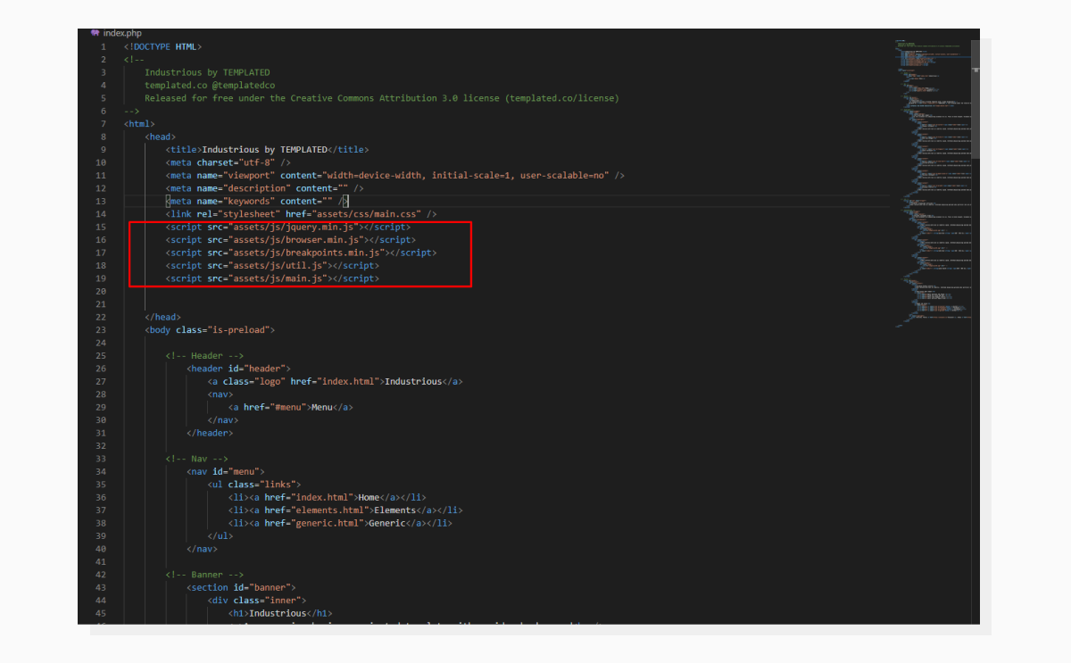 a screenshot highlighting the place in the source code where scripts and styles are injected