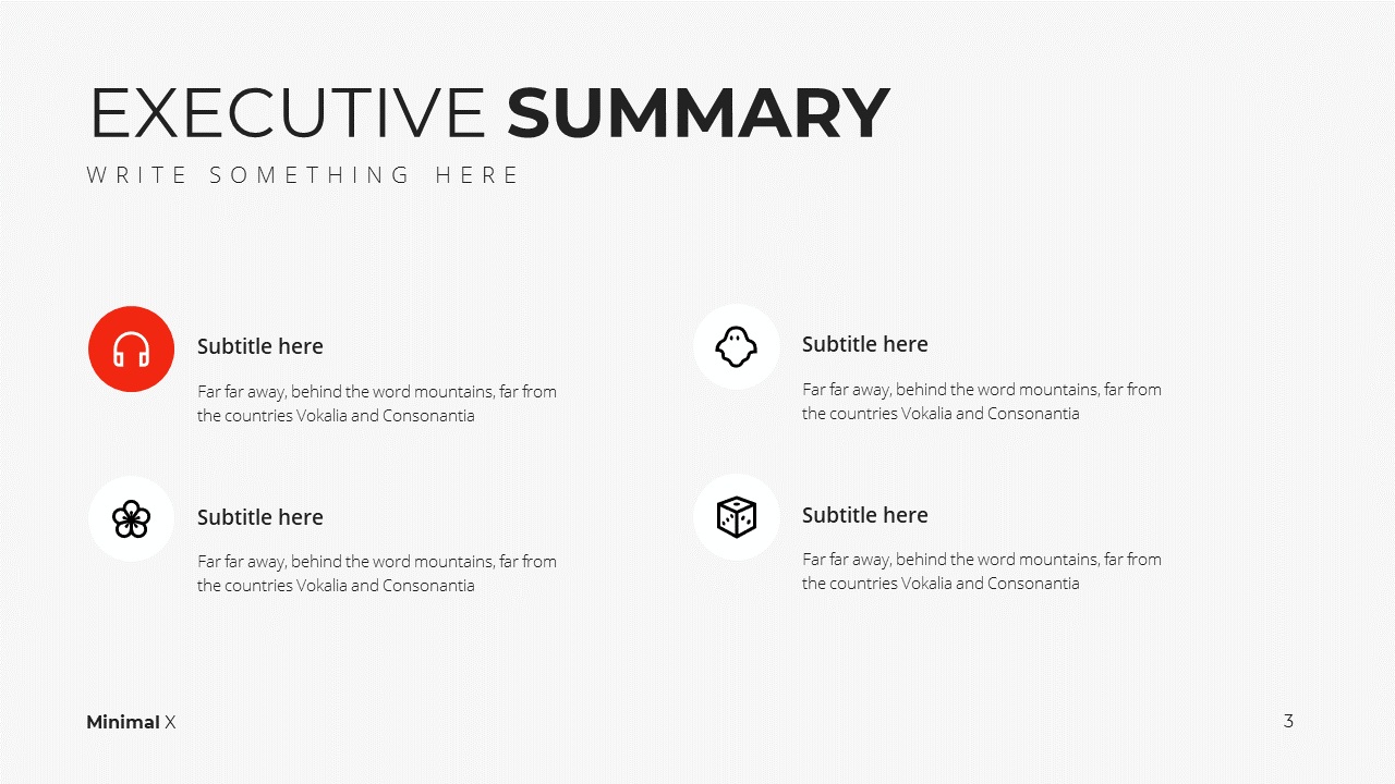 Minimal X Presentation Template Business Plan Agenda