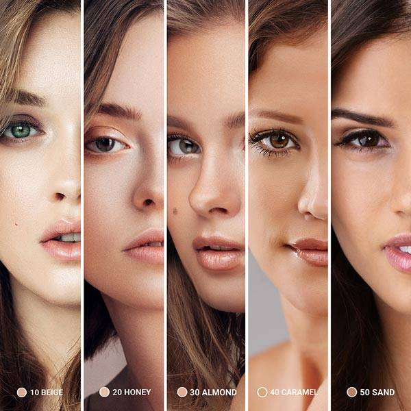 5 verschiedene Frauen mit verschiedenen Hauttönen