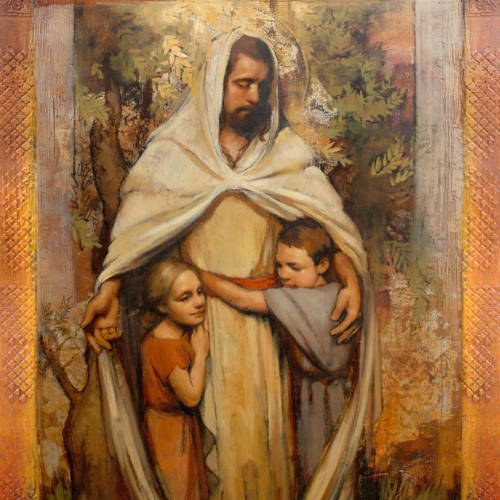 Painting of Jesus embracing two children.