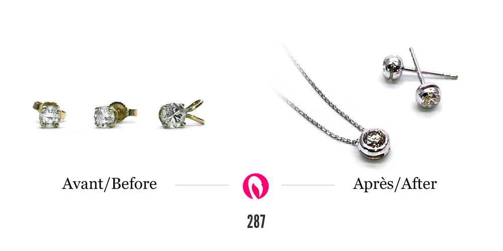 Transformation de boucles d'oreilles avec diamants en un pendentif et de nouvelles boucles d'oreilles en or blanc avec diamants.