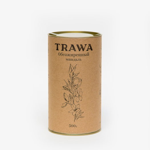 Обезжиренный миндаль TRAWA, 500 гр