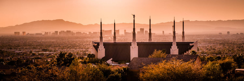 Sepia-toned panoramic photo of the Las Vegas Temple.