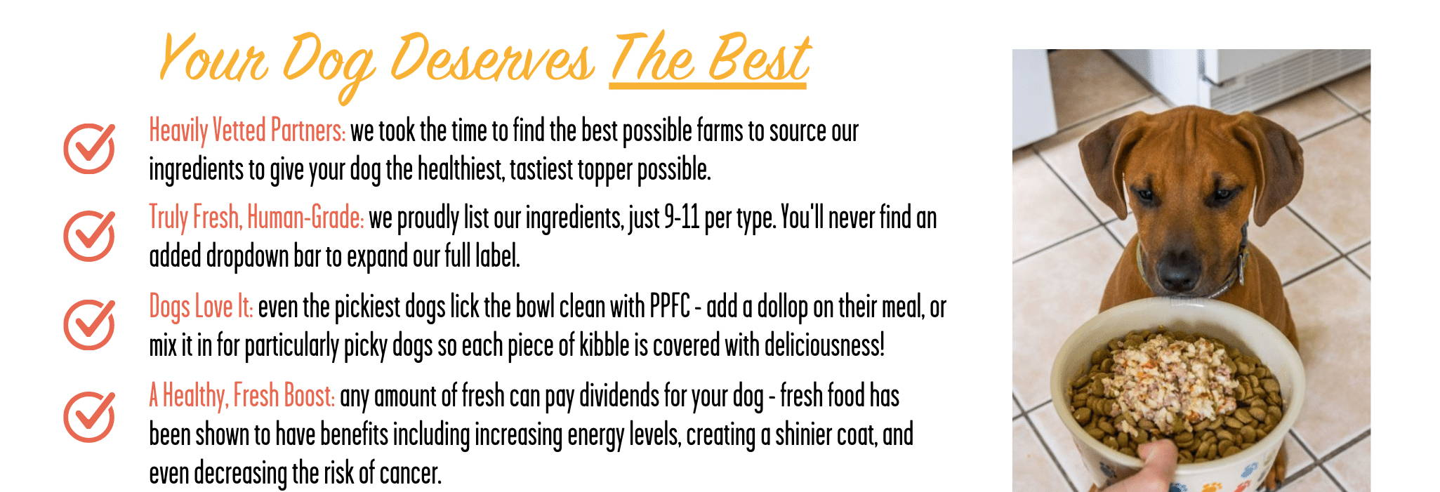 A list of what makes Portland Pet Food's all natural toppers the best for picky dogs.