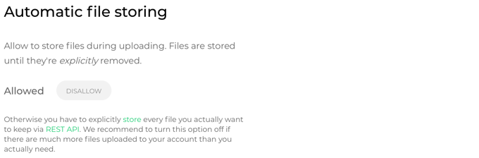 Project settings, Advanced, Automatic File Storing