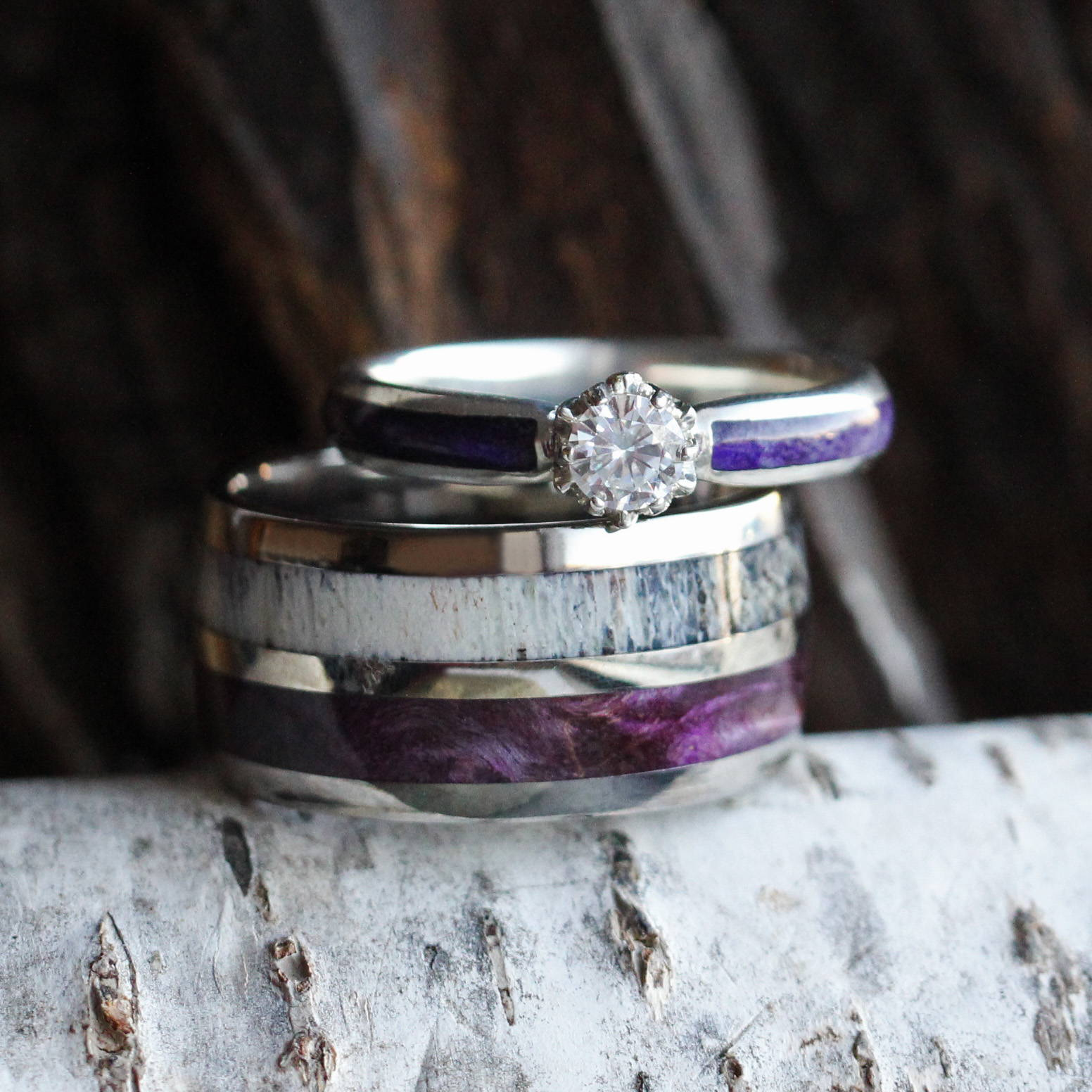 PURPLE BOX ELDER BURL WEDDING RING SET, MOISSANITE ENGAGEMENT RING AND ANTLER BAND