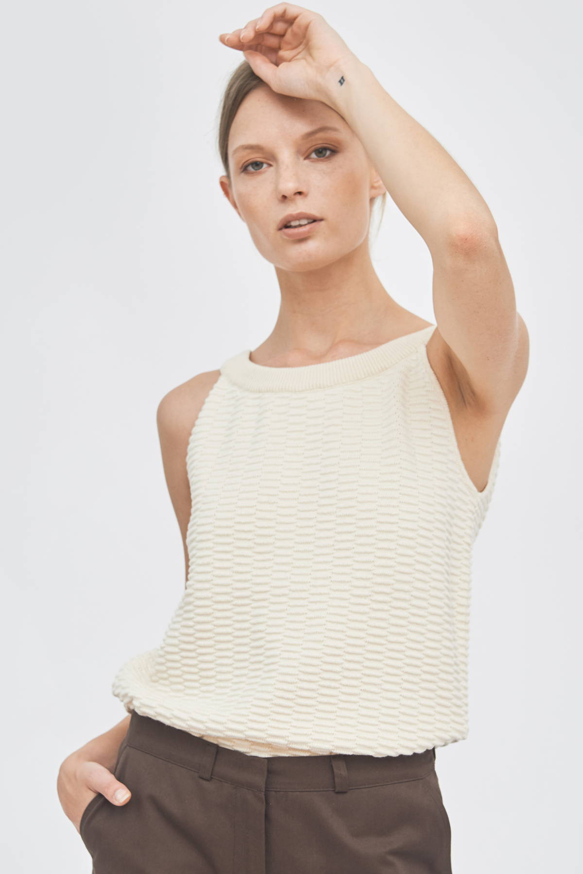 Sustainable organic cotton knitwear summer knitted top