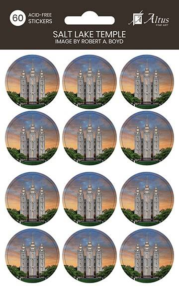 LDS art stickers featuring the Salt Lake Temple at sunset.