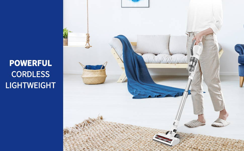 APOSEN 21Kpa Cordless Vacuum Cleaner Ultra-Lightweight & Quiet H21 is powerful cordless lightweight
