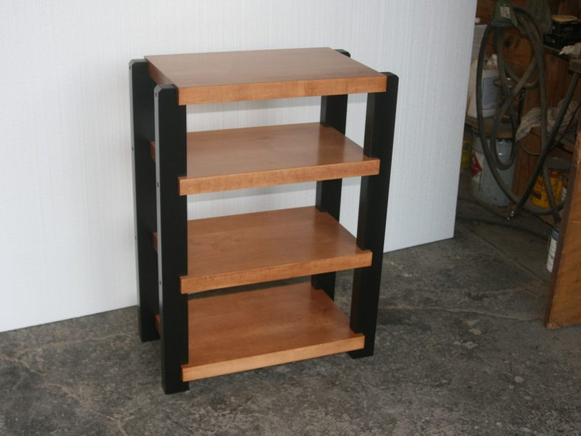 Timbernation  Hi-End Audio  Stereo Rack     Maple Shelves  with Black Post