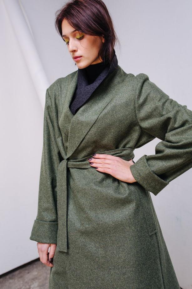 Пальто из шерстяного сукна цвета хаки №25