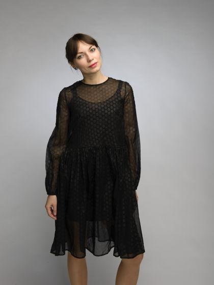 Шелковое платье в горох