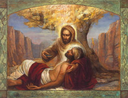 Painting of light shining down on the Good Samaritan as he helps the wounded man.