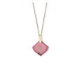 Aislinn Gold Long Pendant Necklace in Pink Rhodonite
