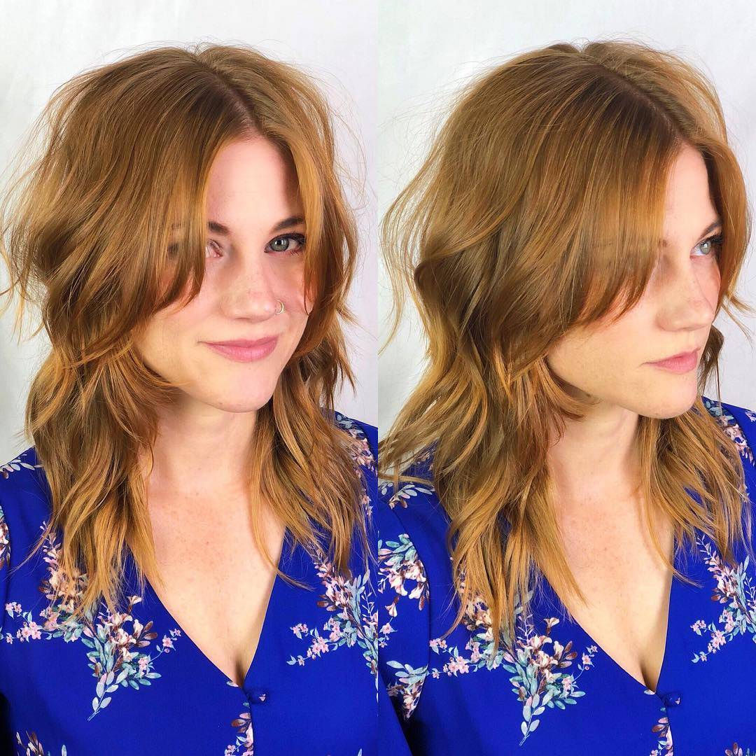 Two pictures of a woman in a blue shirt with copper hair