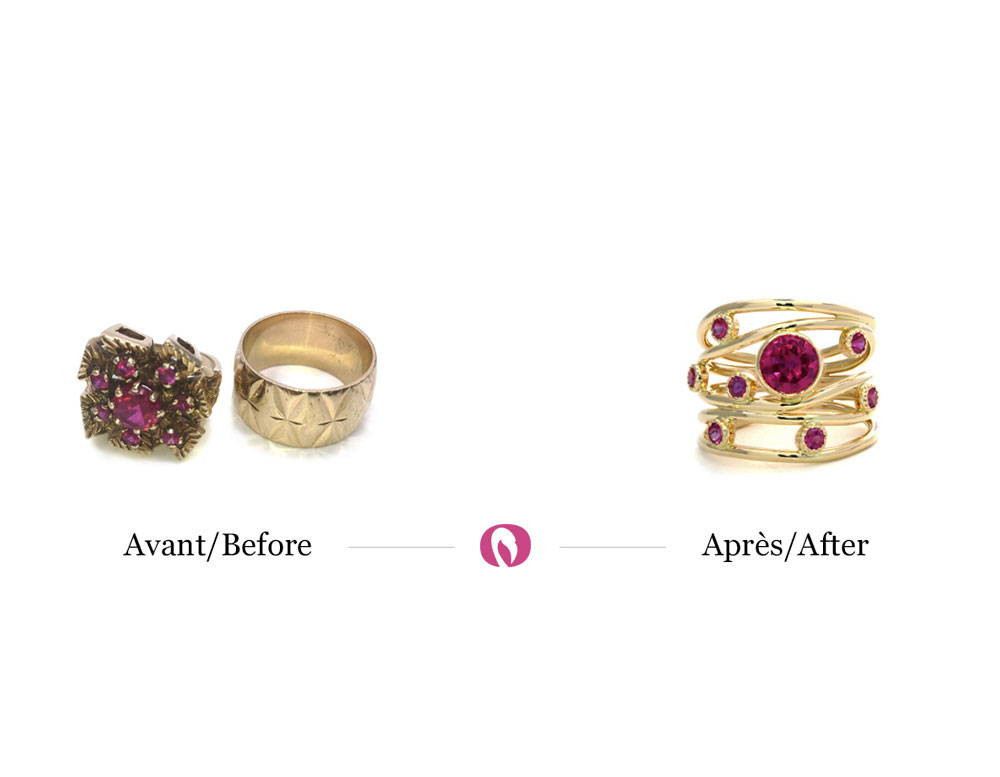 Transformation of jewellery from a yellow gold ring with rubies to a multi-row ring