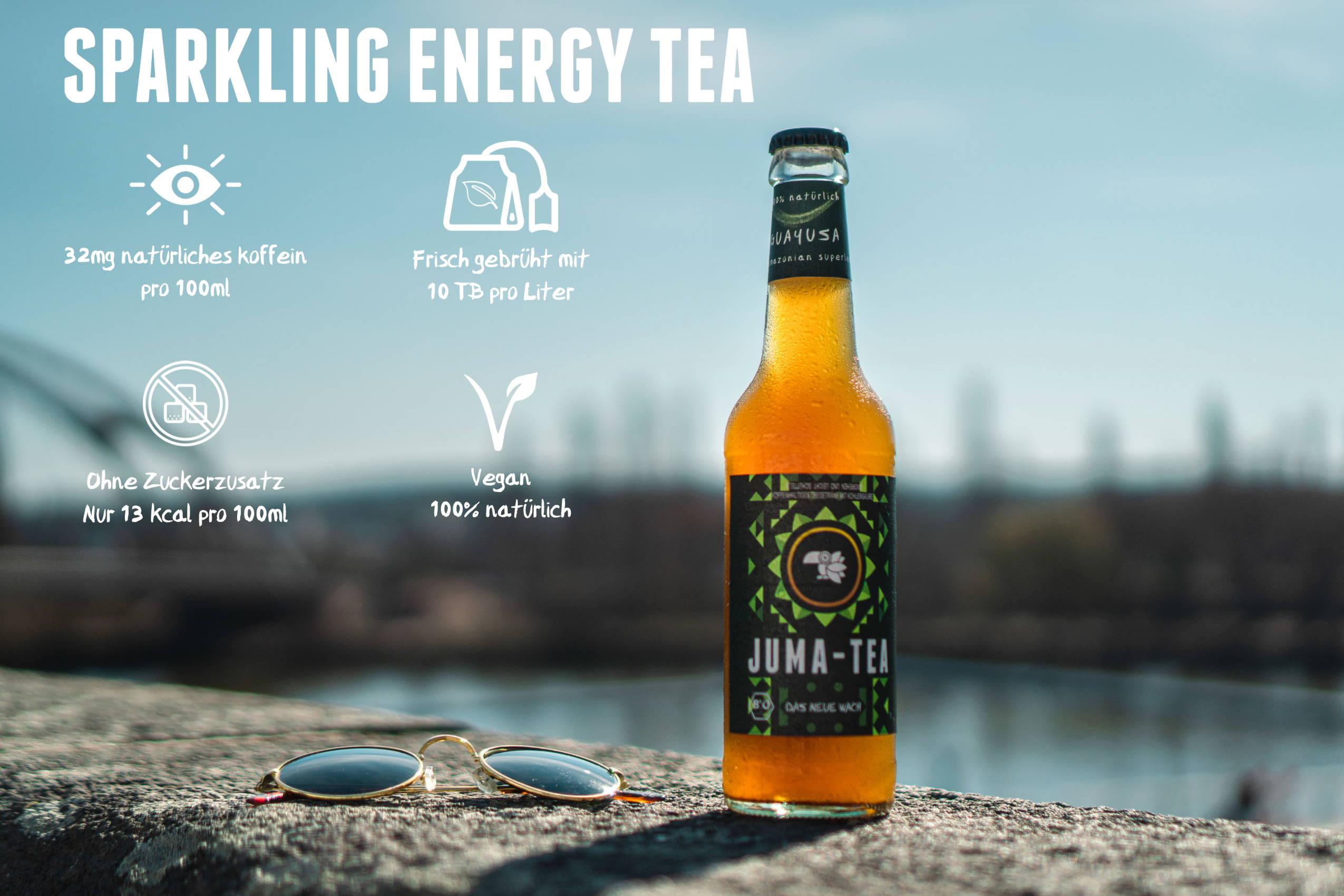 JUMA-TEA Guayusa Sparkling Cold Tea auf gelben Hintergrund