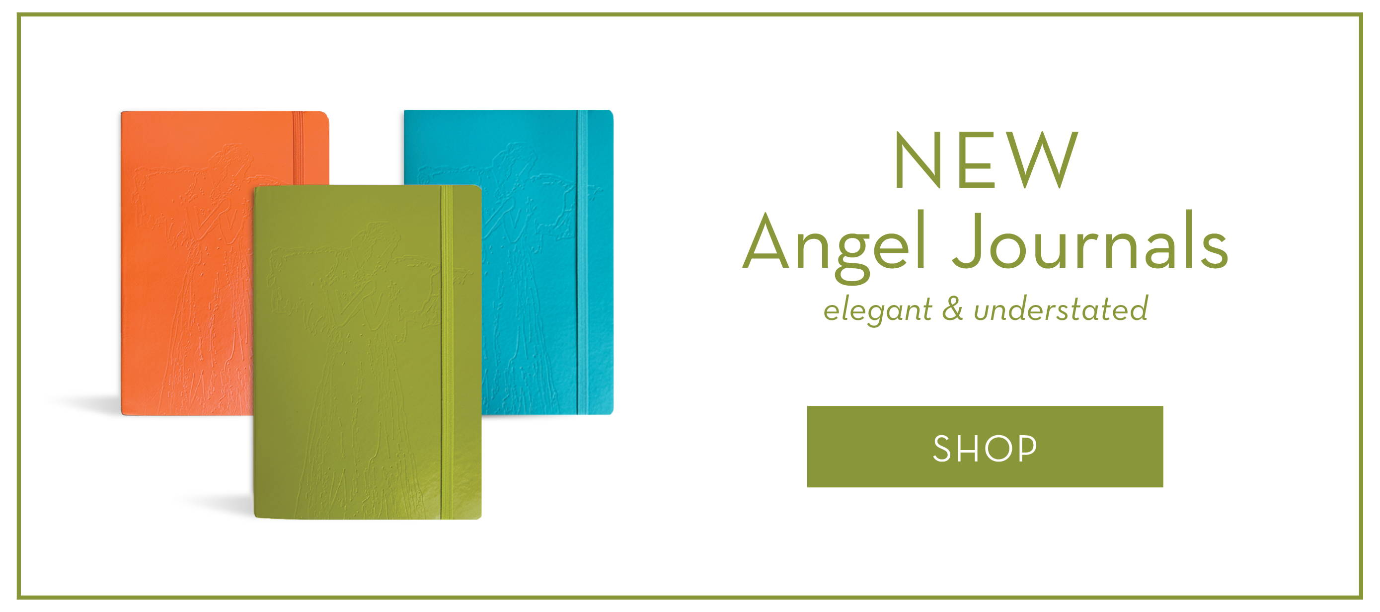 An image of three different colored journals, green, orange and blue, with a debossed angel on the cover and a link to purchase