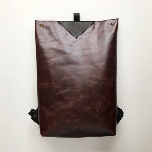 Кожаный рюкзак большой Zipper Dark Chocolate