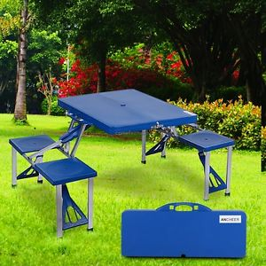 RENTERS BAY: Outdoor Portable Folding Garden Camping Picnic Table w/4 Seats Durable