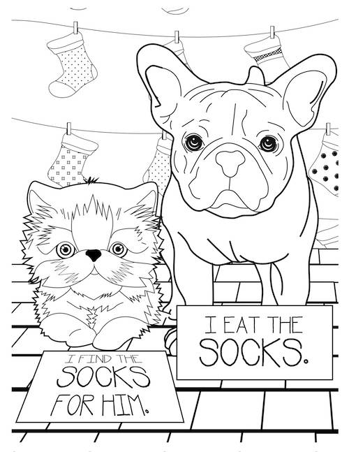 i eat the socks dog coloring page