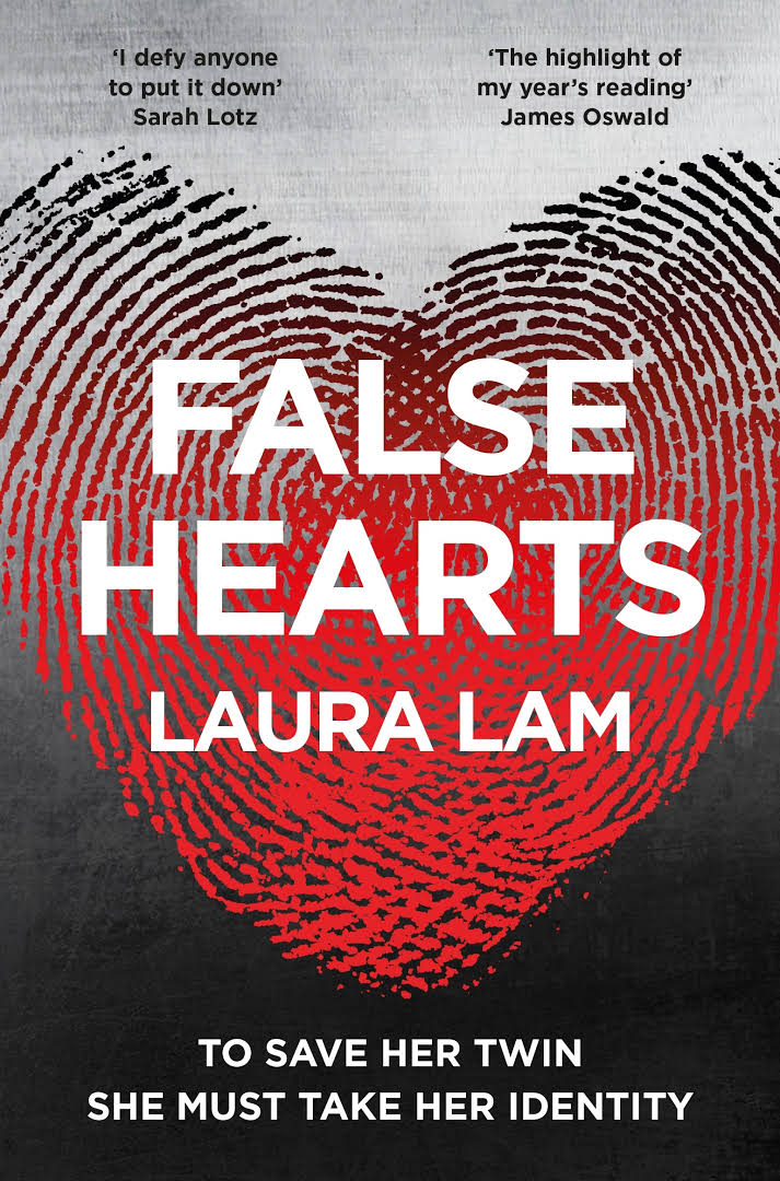 Image of the book cover of False Hearts where it has two finger prints blending together to make a heart.