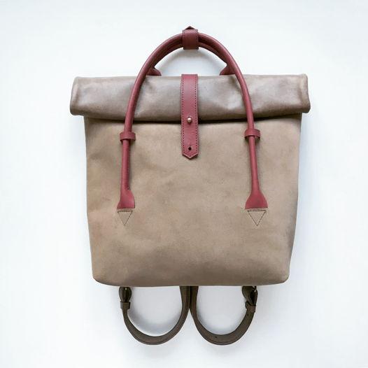 Кожаный рюкзак-сумка Rolltop Cacao Suede