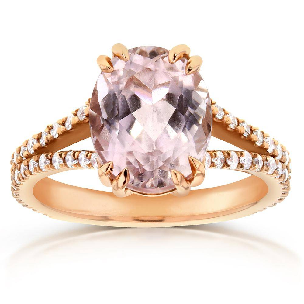oval kunzite and diamond ring