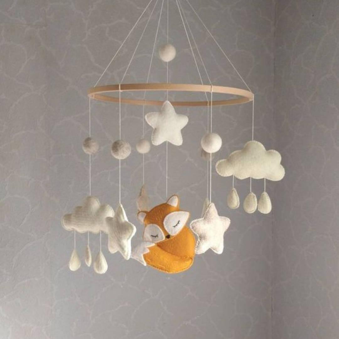 Sleeping fox overhead crib mobile