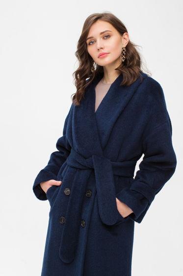 Зимнее длинное пальто из альпаки синее