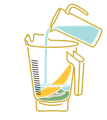 icon of blender with banana, powder and water being added