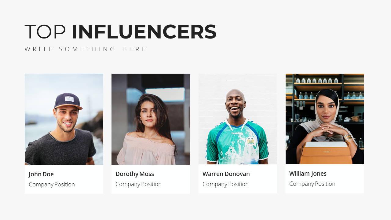 Minimal X Social Media Report Presentation Template Top Influencers
