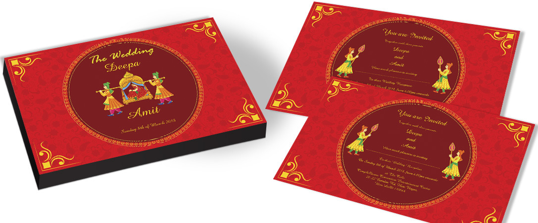 Elegant Red Invitation for Hindu Marriage