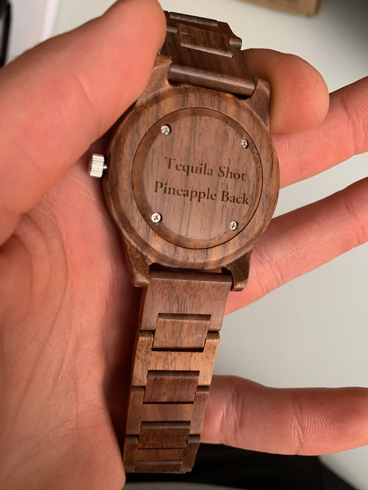 Birthday Quotes Personalization on Back of Wooden Watch