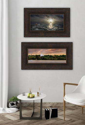 Environment shot of two LDS art paintings hung in a vertical pattern.