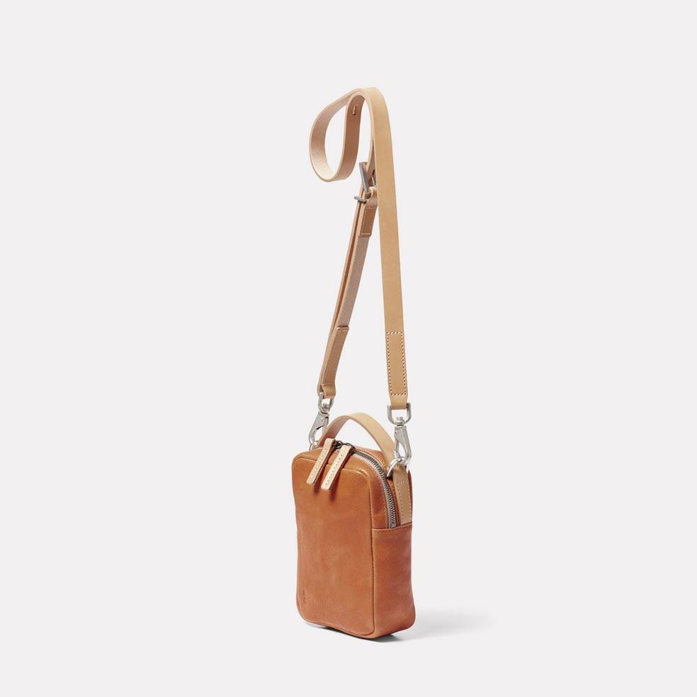 Hurley Calvert Leather Crossbody Bag in Tan Angle