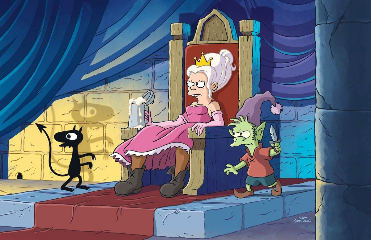 Image of Princess Bean, Luci, and Elfo next to her while she sits on a throne with a mug in her hand.