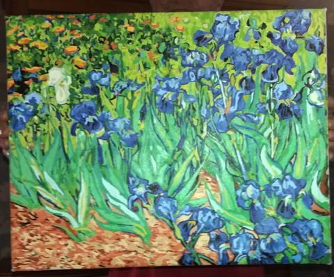 Peinture numérotée client d'un champ de fleurs