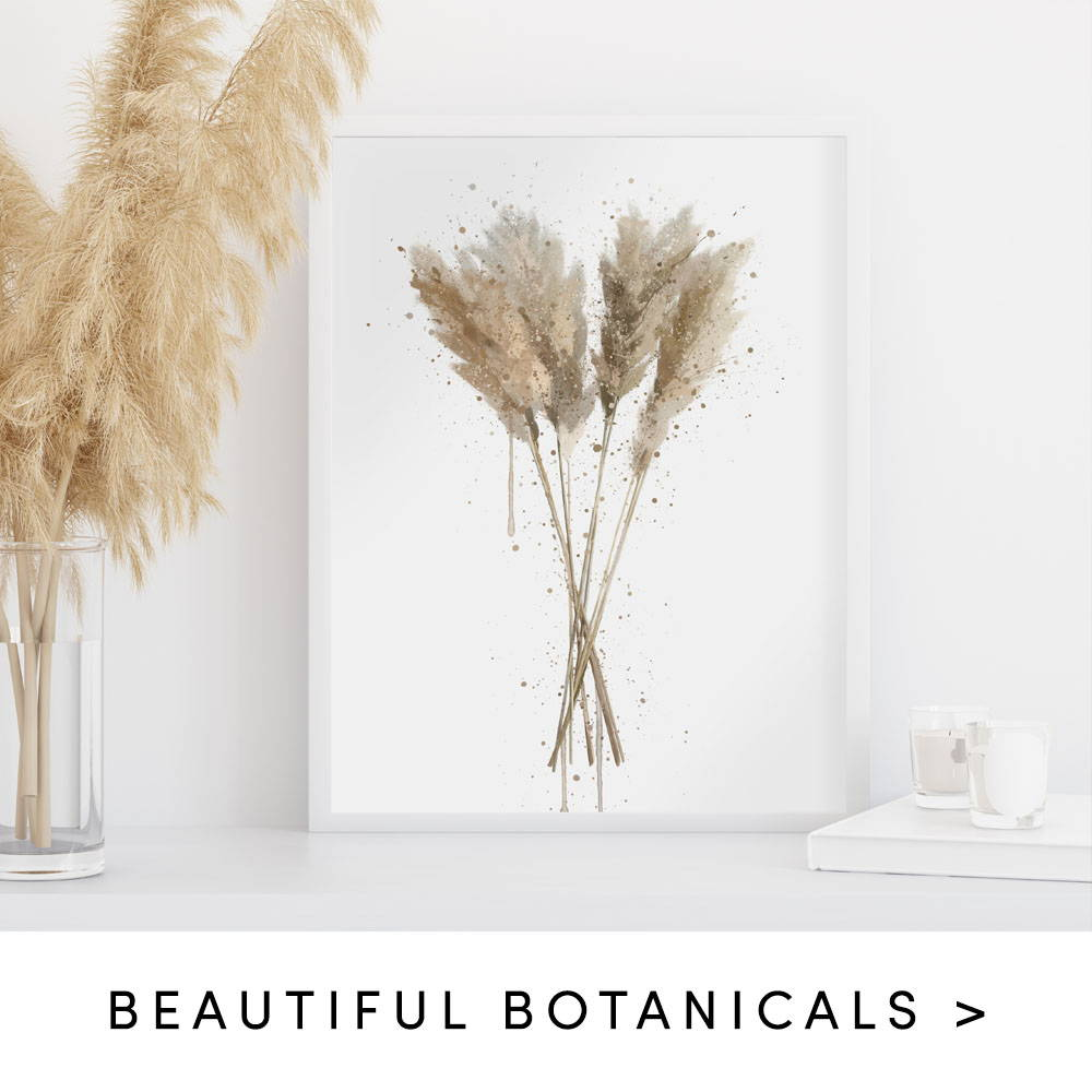 Pampas grass splatter wall art print text states to shop beautiful botanicals