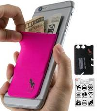 phone wallet Pink with Black logo by gecko travel tech