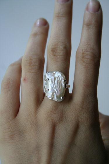 кольцо с двойным жемчугом