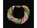 Italian Pink & Green Murano Glass Bead Bracelet