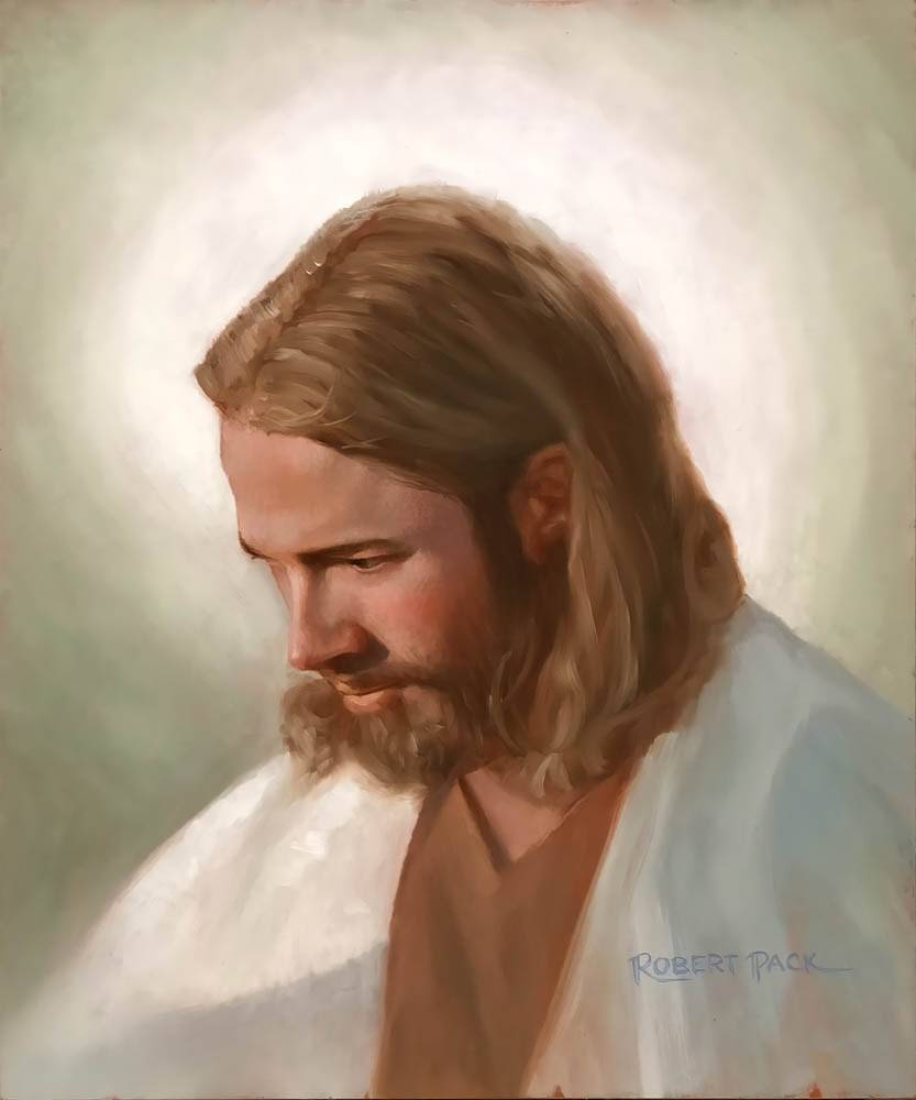 LDS art portrait of Jesus Christ with a soft, somber expression.