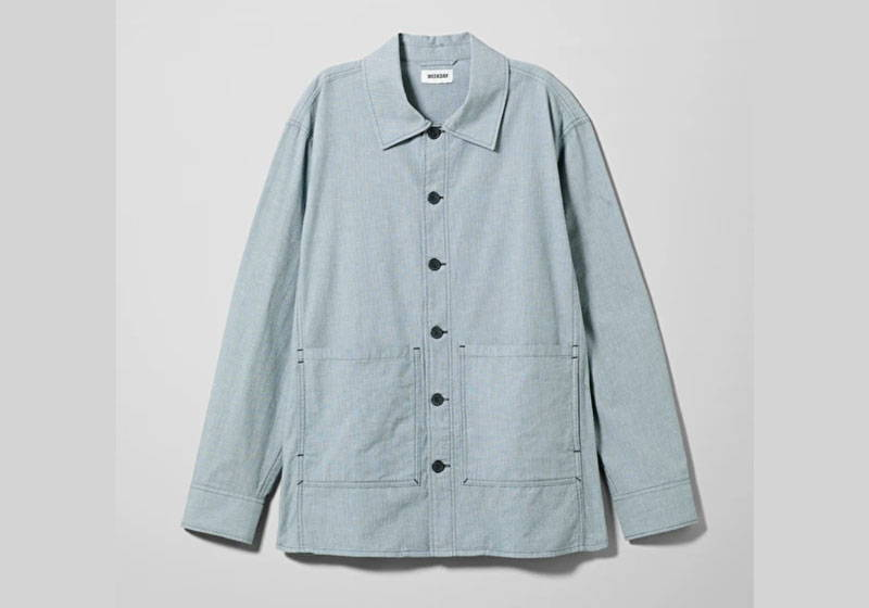 Men's light blue organic cotton twill chore overshirt from Weekday