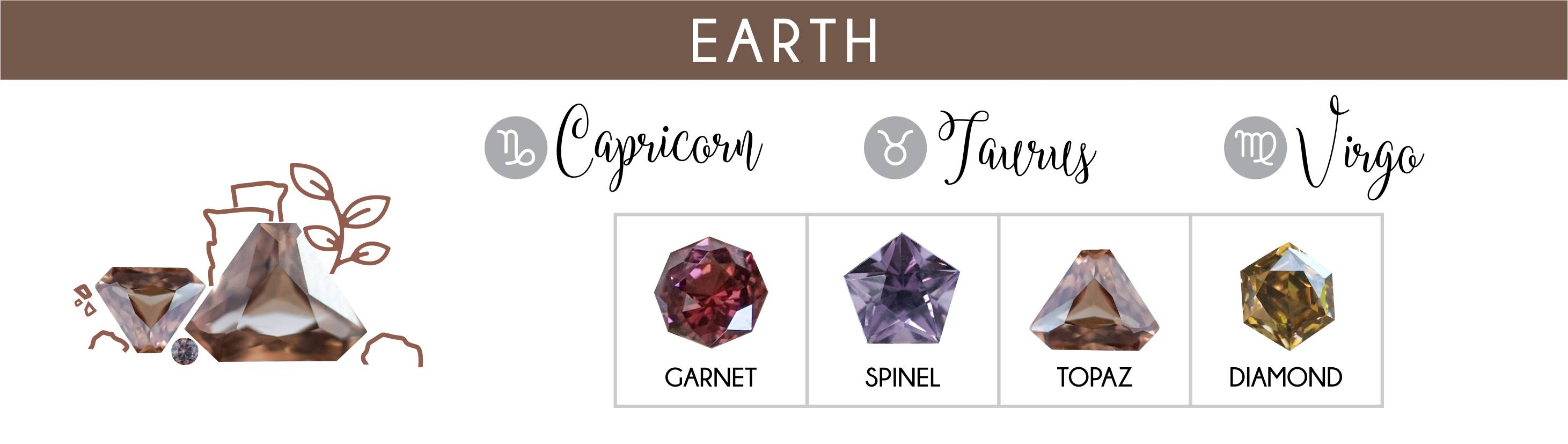 Earth element zodiacs: Capricorn, Taurus, and Virgo