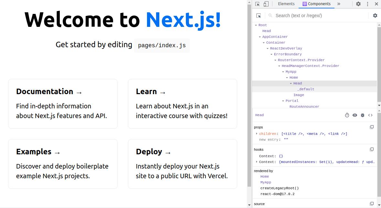 React Dev Tools component tree screenshot