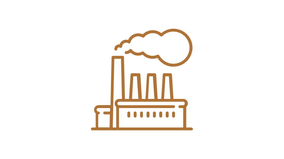 Orange image of a factory - icon style
