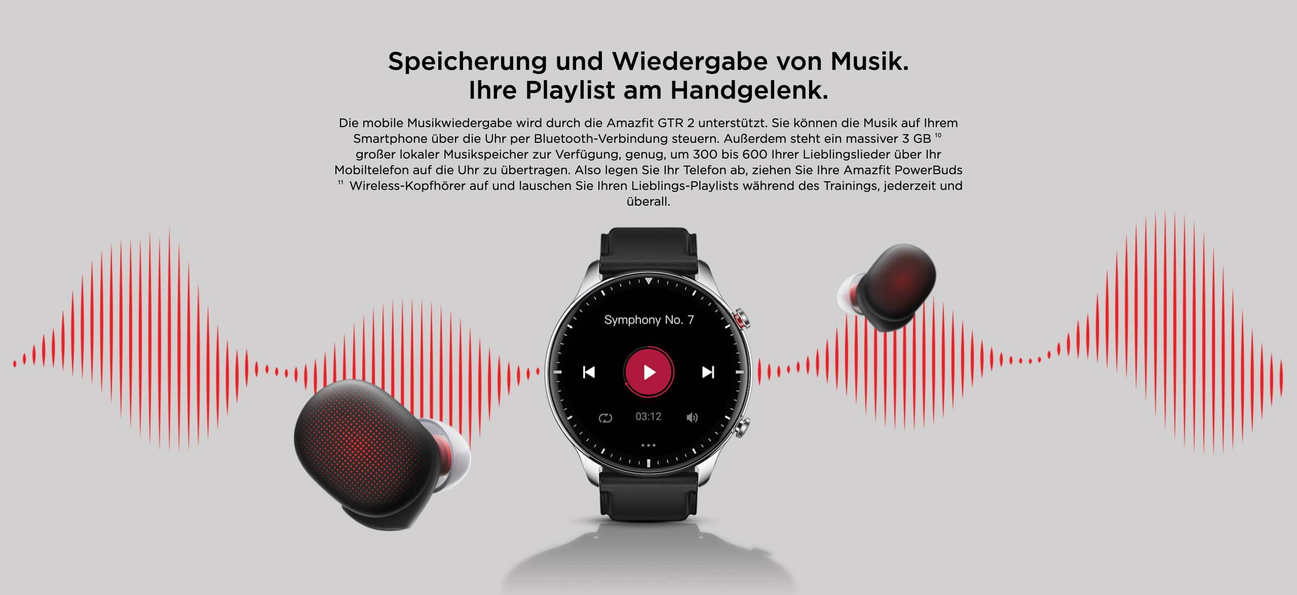 Amazfit GTR 2 - Speicherung und Wiedergabe von Musik. Ihre Playlist am Handgelenk.