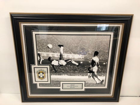"Pele ""The Goal"" Hand Signed Framed Photograph"