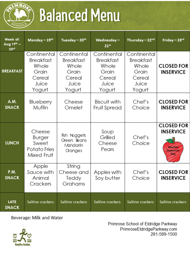 Weekly menu description of continental breakfast, AM snack, lunch, PM snack, and late snack